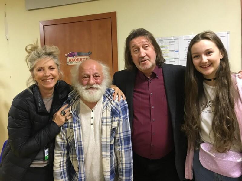 С Валери Фриш, Вячеславом Полуниным и дочкой Дашей.